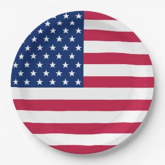 USA Patriotic Stripes Stars Flag Party Paper Plate