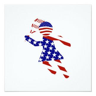 USA Patriotic Women's Tennis Player 13 Cm X 13 Cm Square Invitation Card