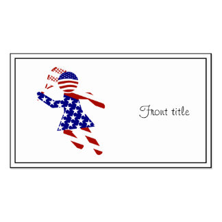 USA Patriotic Womens Tennis Player Double-Sided Standard Business Cards (Pack Of 100)