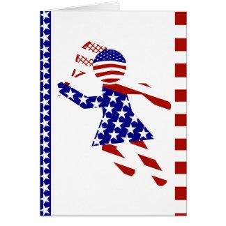 USA Patriotic Womens Tennis Player Greeting Card