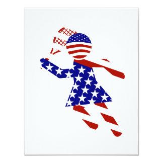 USA Patriotic Womens Tennis Player 4.25x5.5 Paper Invitation Card