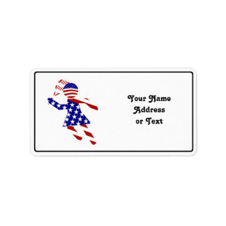 USA Patriotic Womens Tennis Player Address Label