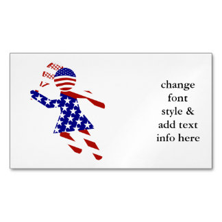 USA Patriotic Women's Tennis Player Magnetic Business Cards