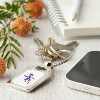 USA Patriotic Womens Tennis Player Silver-Colored Rectangular Metal Keychain
