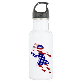 USA Patriotic Womens Tennis Player 18oz Water Bottle