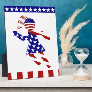 USA Patriotic Womens Tennis Player Photo Plaques