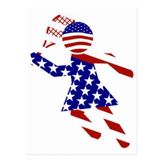 USA Patriotic Womens Tennis Player Postcard