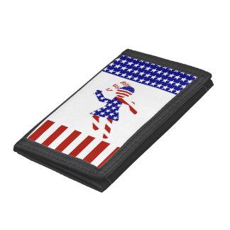USA Patriotic Womens Tennis Player Tri-fold Wallets