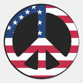 USA Peace Symbol Designs & Products! Round Sticker