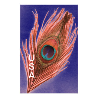 USA Peacock Feather Custom Stationery