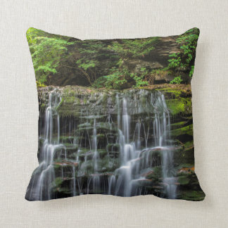 USA, Pennsylvania, Benton. Waterfall In Ricketts Throw Pillow