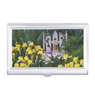 USA, Pennsylvania. Garden irises grow around Business Card Holder