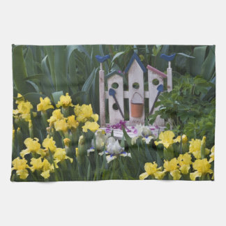 USA, Pennsylvania. Garden irises grow around Tea Towel