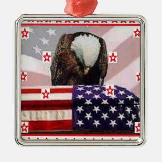 USA.png EAGLE Silver-Colored Square Decoration