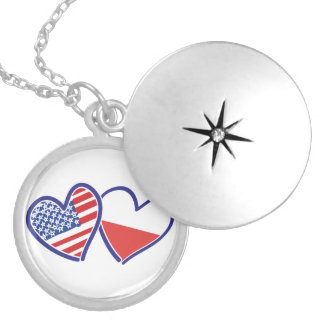 USA Poland Flag Hearts Locket Necklace