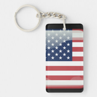 Usa polished flag key ring