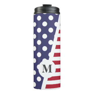 USA Polka Dots and Stripes: Monogram Thermal Tumbler