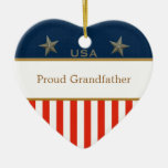 USA Proud Grandfather Patriotic Heart Frame
