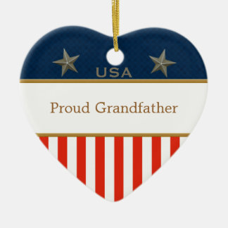 USA Proud Grandfather Patriotic Heart Frame Ceramic Heart Decoration