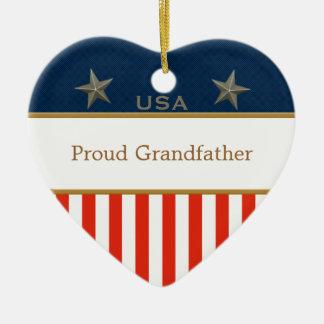 USA Proud Grandfather Patriotic Heart Frame Ceramic Heart Decoration