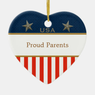 USA Proud Parents Patriotic Heart Frame Christmas Ornament