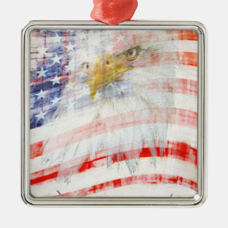 USA Proud Silver-Colored Square Decoration