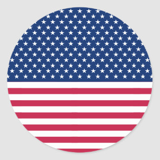 USA Red Blue White Stars Stripes Round Stickers