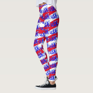 USA Red White And Blue America Patriotic Pattern Leggings