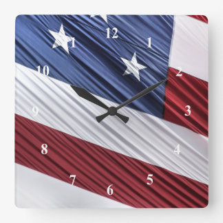 USA Red, White and Blue American Patriotic Flag Square Wall Clock