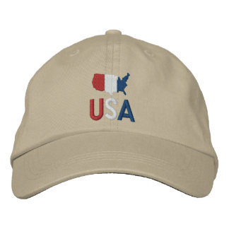 USA Red White and Blue American Patriotism Map Baseball Cap