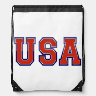 USA RED WHITE AND BLUE DRAWSTRING BAG