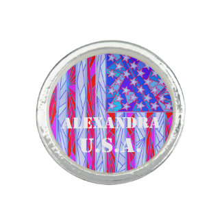 USA Red White And Blue Flag Personalized Custom Photo Ring
