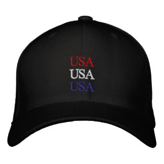 USA Red, White, and Blue Hat Embroidered Baseball Cap