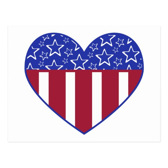 USA Red White and Blue Heart Postcard
