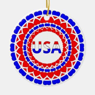 USA.Red White and Blue Hearts Button Round Ceramic Decoration