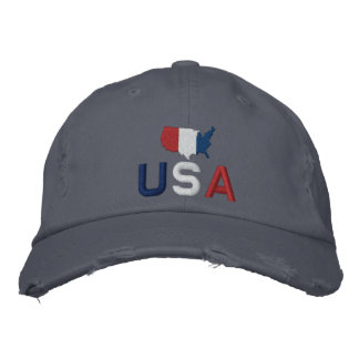 USA Red White and Blue Patriotic American Embroidered Baseball Cap