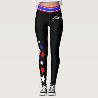 USA - Red White and Blue Stars (Your Name) Leggings
