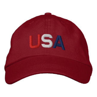 USA Red White Blue Embroidered Red Hat