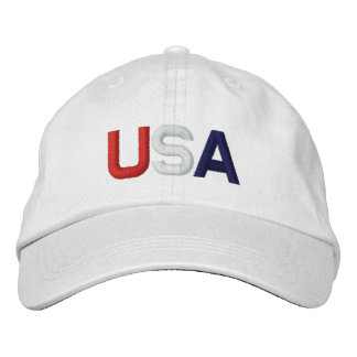 USA Red White Blue Embroidered White Hat Embroidered Baseball Cap