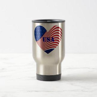 USA - Red White & Blue Stars & Stripes Travel Stainless Steel Travel Mug