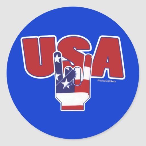 USA Rocks! Fourth of July Round Sticker