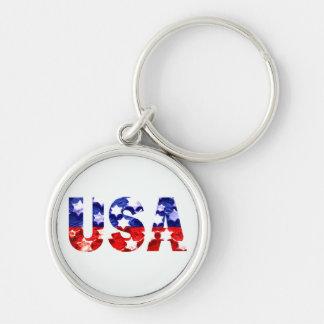 USA Round Keychain