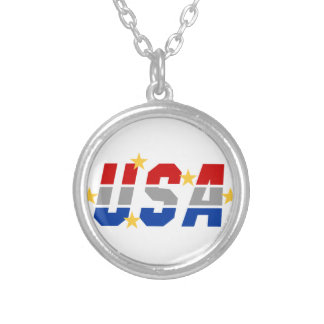 USA ROUND PENDANT NECKLACE