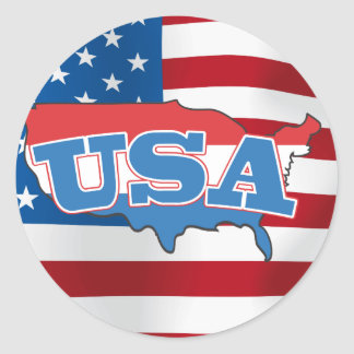 USA ROUND STICKER