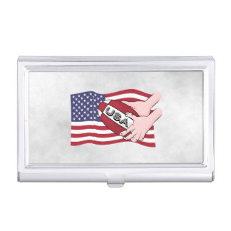 USA Rugby Team Supporters Flag With Ball Business Card Holder