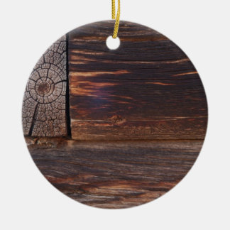 USA, Salmon, Idaho, Log Cabin Round Ceramic Decoration