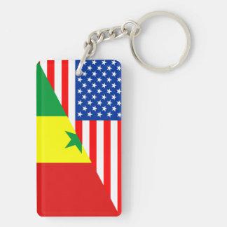 usa senegal country half flag america symbol Double-Sided rectangular acrylic key ring
