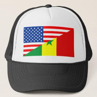 usa senegal country half flag america symbol trucker hat