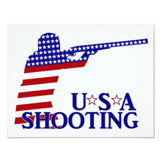 USA Shooting (Red White And Blue Rifle) 11 Cm X 14 Cm Invitation Card