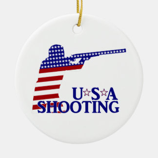 USA Shooting (Red White And Blue Rifle) Round Ceramic Decoration